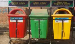 Red, green and yellow mailboxws